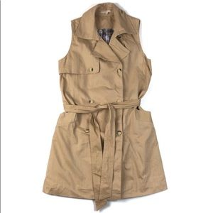 Khaki double breasted trench style vest